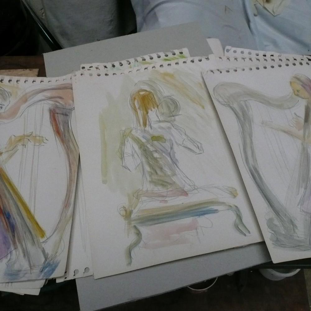 1a dessins harpiste